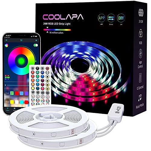 Tira LED 20M, COOLAPA RGB Luces LED, Sync con Música, 12V 5050 SMD, Iluminación de ambiente, Control Remoto de 40 Teclas, para Decoración de Casa, Jardín, Fiesta, 2 rollos de 10m