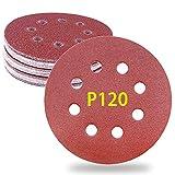 Papel de lija 120 grano 30pcs discos abrasivos 8 agujeros para 122~125mm lijadora excéntrica