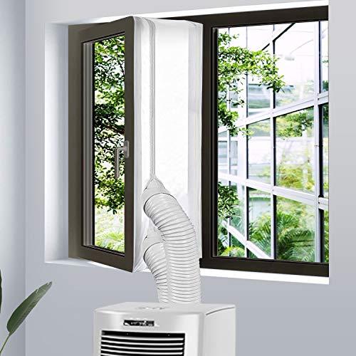 Veperain Guarnizione Universale per Finestre per Condizionatore Portatile e Asciugatrice per Tutti Climatizzatori Mobili, con Zip, Chiusura a Strappo,con Lunghezza Massima di 400CM
