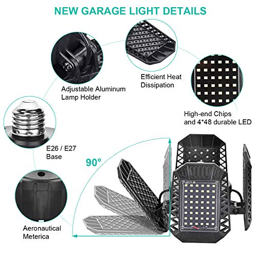 2 Pack LED Garage Lights, 80W Deformable LED Garage Ceiling Lights with 4 Adjustable Panels, 8000LM E26 LED Shop Lights for Garage, Basement, Barn, High Bay Light (Black, 2PACK) 2