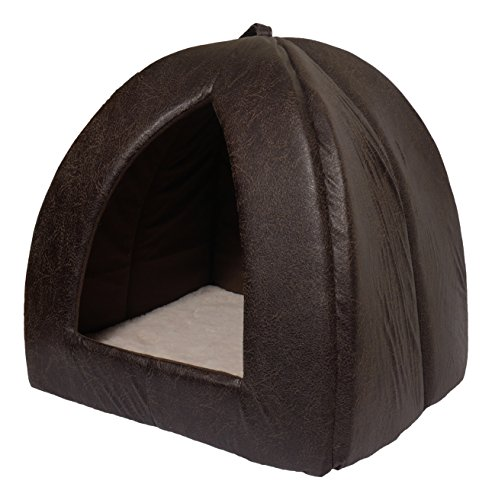 Rosewood Faux Leather and Plush Fabric Cat Pyramid Bed, 40 x 40 cm