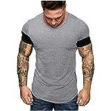 Camiseta de manga corta para hombre, de verano, corte ajustado, patchwork, deportiva, camiseta básica A_gris L