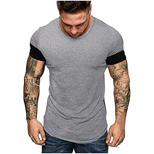 Camiseta de manga corta para hombre, de verano, corte ajustado, patchwork, deportiva, camiseta básica A_gris XL