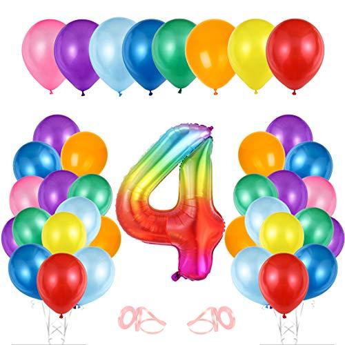 Globo cumpleaños 4 año, Globo 4 Año, Decoración de cumpleaños 4 er Colores, Globos Numeros 4 para Fiestas, Number Balloons, Set Globos Decoracion Bautizo Comunión Fiesta Cumpleaños Party