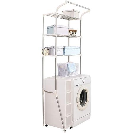 BAOYOUNI Étagère de Machine à Laver Réglable en Métal Support Rangement Au-Dessus de l'étagère de Toilettes WC 3 Niveaux Etagere de Salle de Bain Organisateur Multifonction avec Barre pour Accroche