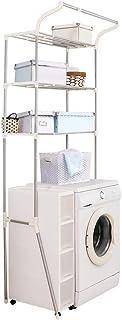 BAOYOUNI Étagère à linge réglable au-dessus des toilettes, étagère de rangement au-dessus de la machine à laver, séchoir à...
