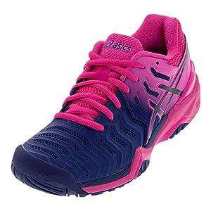 ASICS Women's Gel-Resolution 7 Tennis Shoes, 6, Blue Print/Blue Print