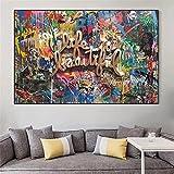 yunxiao Impresiones en Lienzo La Vida es Hermosa Acuarela Graffiti Lema Lienzo Pintura en la Pared Arte Cartel e Impresiones Calle Arte Imagen decoración del hogar Cuadro nórdico Mural Art 50x70cm