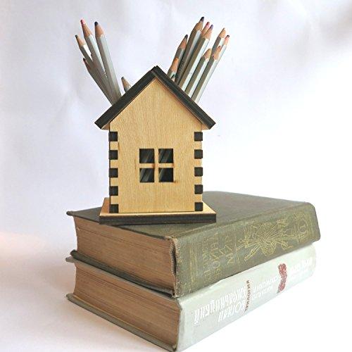 Wooden Pencil Holder, Small house Home Decor, wooden House Pencil Holder, Fairy house gift for kids, school desk organizer