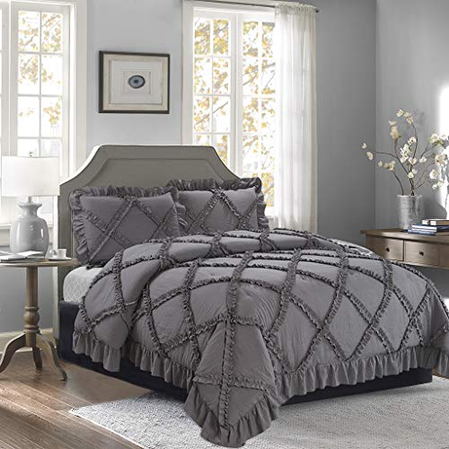 HIG 3 Piece Romantic Ruffle Applique Bedding Set King Gray - 4' Handmade Ruffle Edge - 100% Poly Filling - Durable, Shrink Resistant Soft Comforter Set with 2 Shams - Year-Round Use Comforter(Kanta)