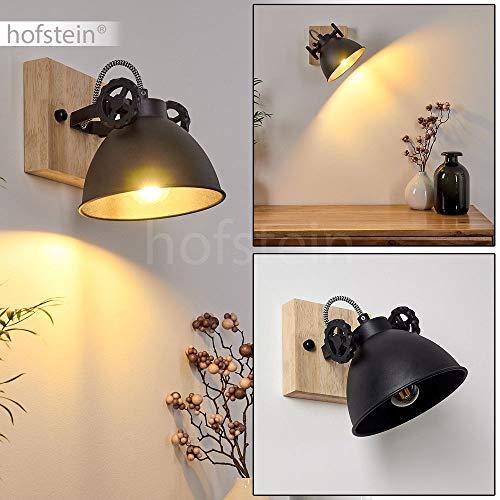 Wandlampe Svanfolk, Wandleuchte aus Metall und Holz in Schwarz/Braun, 1-flammig, mit verstellbarem Strahler, 1 x E14-Fassung, max. 40 Watt, Retro/Vintage Design