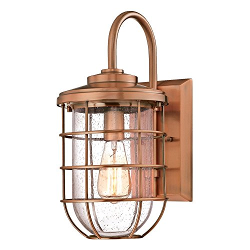 Westinghouse Lighting 6347900 Ferry One-Light Outdoor Wall Fixture, Washed Copper Finish with Clear Seeded Glass,
