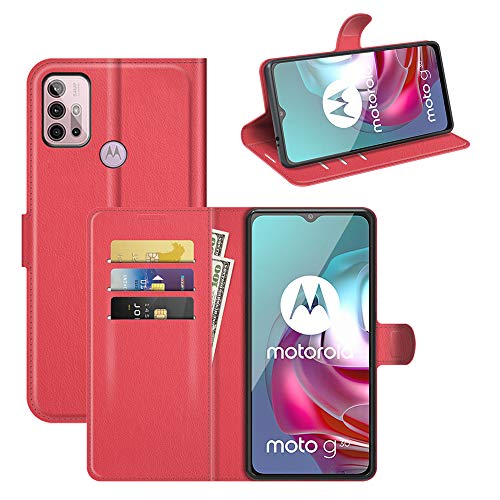 Fertuo Hülle für Motorola Moto G30 / Moto G10 / Moto G20, Handyhülle Leder Flip Hülle Tasche mit Standfunktion, Kartenfach, Magnetschnalle, Silikon Bumper Schutzhülle Cover für Moto G30 / G10, Rot