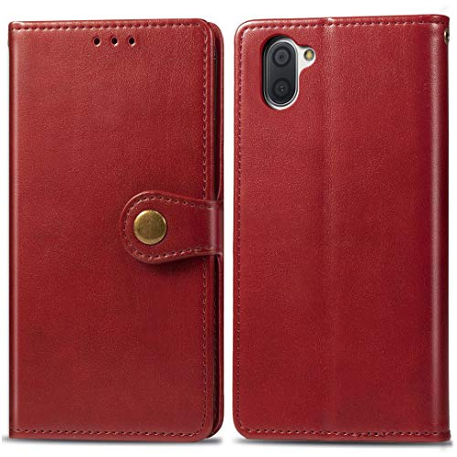 Sharp Aquos R3 Hülle, SATURCASE Prämie PU Lederhülle R&er Magnetverschluss Brieftasche Kartenfächer Standfunktion Handschlaufe Handy Tasche Schutzhülle Handyhülle Hülle für Sharp Aquos R3 (Rot)