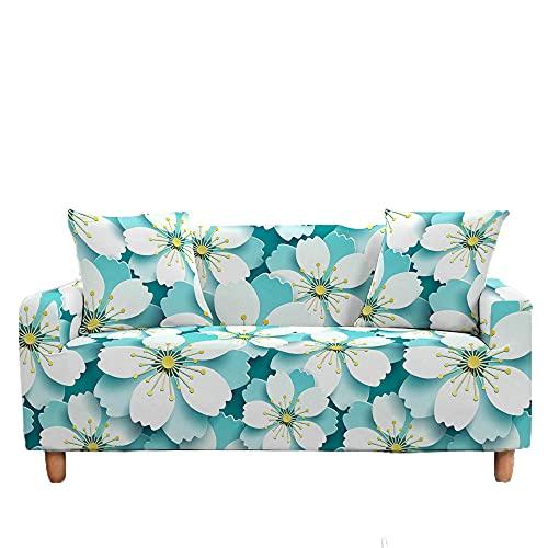 Meiju Fundas de Sofá Elasticas de 1 2 3 4 Plazas Flores Ajustables Antideslizante Cubierta de Sofá Lavable Extensible Funda Cubre Sofas Furniture Protector (Azul Claro,2 plazas - 145-185cm)