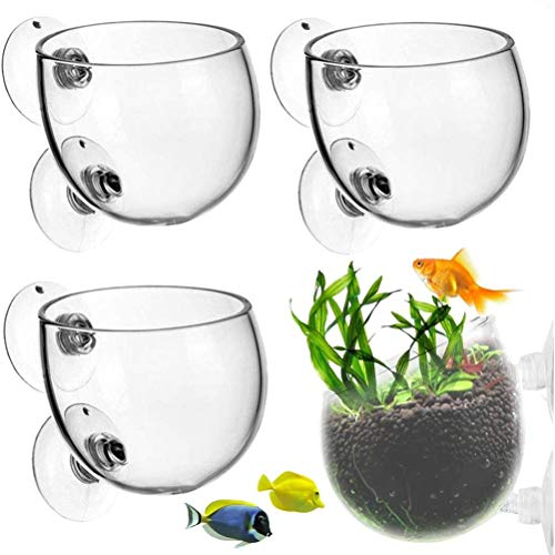 Ioffersuper 4Pcs Crystal Glass Plant Cups Aquatic Pots with Suction Holder 6CM/2.4inches Mini Aquatic Plant Cup Pots for Aquatic Holder Fish Tank Accessory Aquarium Decoration