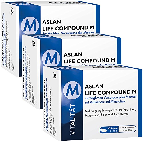 ASLAN Life Compound M, 3 x 60 Kapseln, nur 22 € pro Packung – Multi-Vitamin / Mineralstoff-Kapseln, Vitamin Komplex für den Mann, Energie, Leistungskraft, Nervensystem, Immunsystem, Selen für die Spermabildung, Kürbiskernöl, Nahrungsergänzung Mann Gesundheit, Nahrungsergänzungsmittel