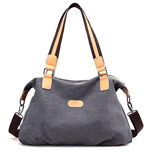 Hiigoo Cotton Canvas Bags Casual Shoulder Bag Big Totes Shopping Bag Fashion Handbags (Grey)