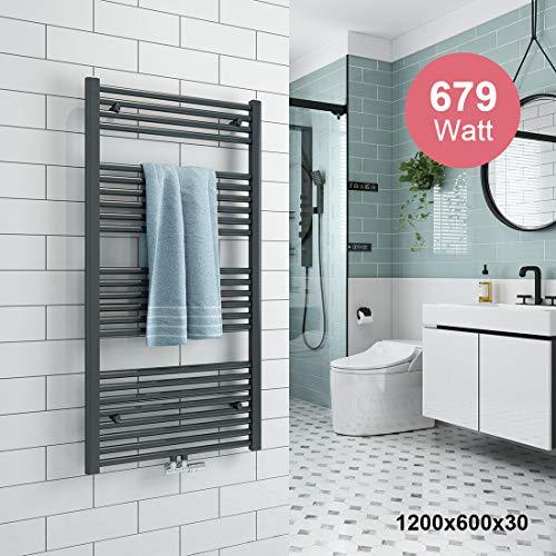 Badheizkörper 1200x600mm Handtuchtrockner Heizkörper 679 Watt Anthrazit Bad Mittelanschluss Handtuchwärmer Heizung Radiator