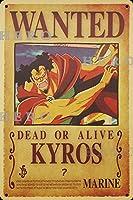海賊アニメKYROS さびた錫のサインヴィンテージアルミニウムプラークアートポスター装飾面白い鉄の絵の個性安全標識警告バースクールカフェガレージの寝室に適しています