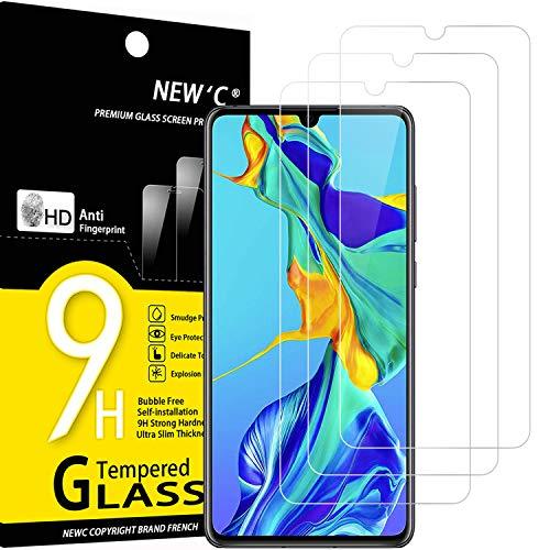 NEW'C Lot de 3, Verre Trempé Compatible avec Huawei P30, Film Protection écran sans Bulles d'air Ultra Résistant (0,33mm HD Ultra Transparent) Dureté 9H Glass