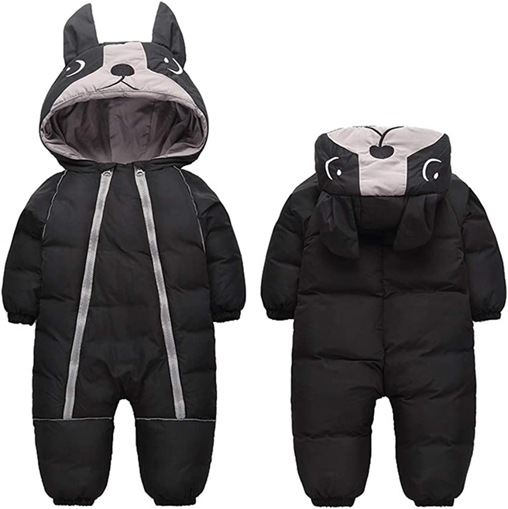 ALLAIBB Toddler Winter Snow Suit Onepiece Coat Warm Hood for Boy Girl 1-4T