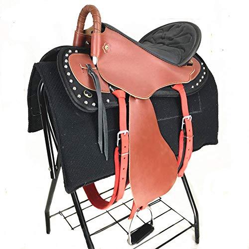 HenLooo Reitersattel aus Rindsleder, Brustkragen, 18 Zoll Sitz verfügbar,Red,L