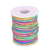VABNEER 1mm Hilo elástico de poliéster Color Arcoiris Cuerda de Abalorios (100M)