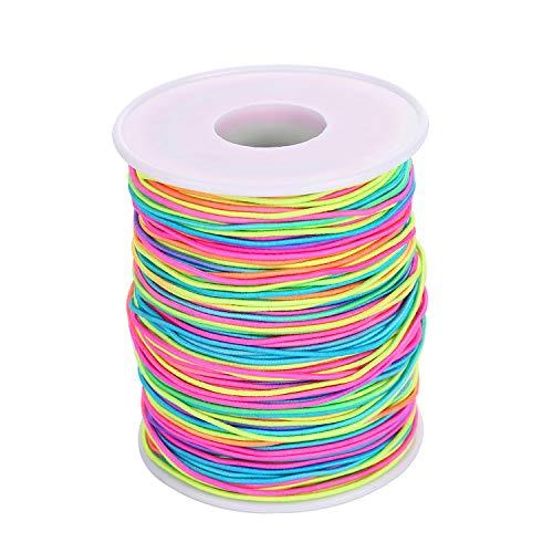 VABNEER Filo Elastico 1mm Arcobaleno Colore Cavo Elastico Filo Cordoncino Elastico per DIY Perline Collana Bracciale Mestiere Che Fa (100M)
