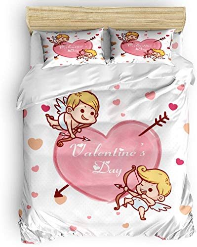 AFFRIFAY Home Living Duvet Cover Set Winter Bed Set Valentine's Day Cupid's Arrow Heart 3-Piece (Queen/90 x90)