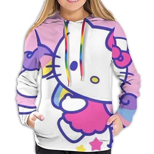 fenrris65 Hello Kitty with Unicorn Women 3D Realistic Digital Print Pullover Hoodie Hooded Sweatshirt