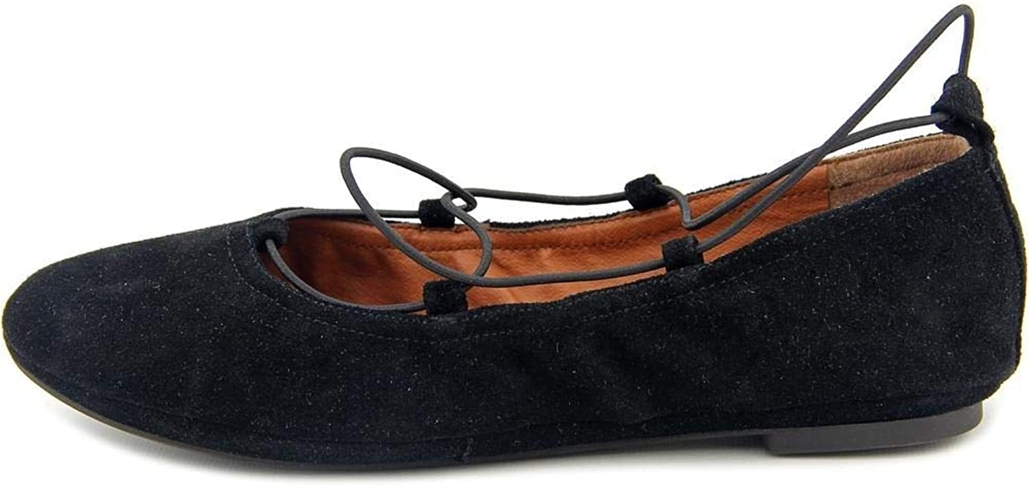 Lucky Brand Womens Eaviee Leather Closed Toe Ankle Wrap Ballet Flats