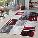 TT Home Alfombra De Salón Moderna Milano con Perfil Contorneado En Rojo Gris Negro, Größe:160x230 cm