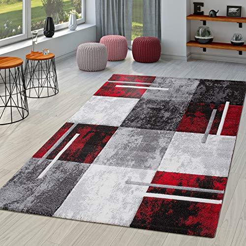 TT Home Alfombra De Salón Moderna Milano con Perfil Contorneado En Rojo Gris Negro, Größe:300x400 cm