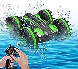 LUOWAN Carrera teledirigido anfibia, 2.4GHz 4WD Carreras de Juguetes de Alta Velocidad, Giro de 360 Grados, Adecuado para su Uso en Tierra y Agua, es Regalo Genial para los niños-Verde(Talla Grande)
