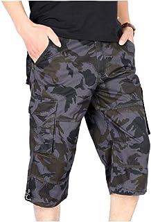 Bermuda Sporthose Freizeithose Kurze Hosen Cargohose Multi-Tasche Casual f/ür M/änner MeetHoo Cargo Shorts Herren