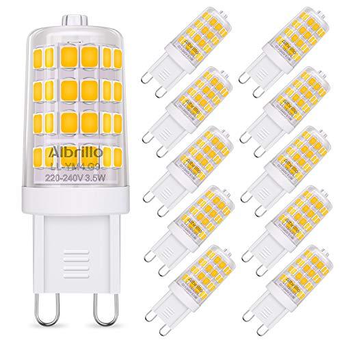 Albrillo 10er Pack 3.5W G9 LED Lampe 400 Lumen, Kein Flackern und 3000K Warmweiß G9 Leuchtmittel Ersatz für 40W Halogenlampe, 360° Abstrahlwinkel, nicht dimmbar