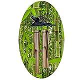 Simandra Windspiel Klangspiel Bambus Klang Deko Klangröhren Entspannung Garten Türglocke Schildkröten bemalt Größe 40 cm