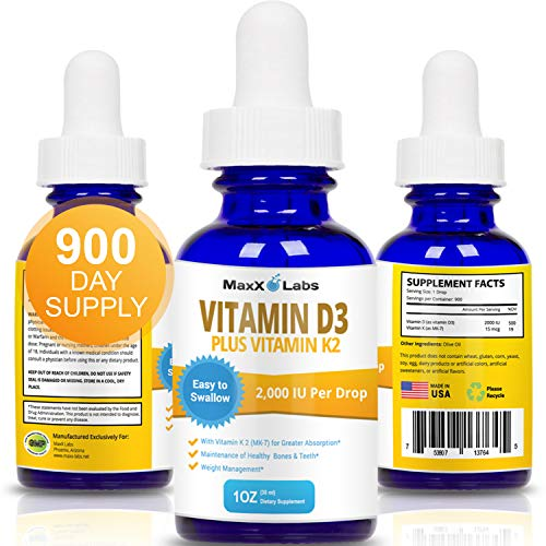 Vitamin D3 Liquid Drops with Vitamin K2 MK-7 New Full 2,000 IU Per Drop - Vitamin D Drops All Natural, Effective, Safe - 4-5 Times Stronger Than Other Brands - 900 Doses in 1 Oz Dropper Bottle