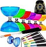 Juggle Dream Diabolo Set Cyclone Cuarzo II (6 colores) – Pro Triple Rodamiento Diabolo + Baquetas de aluminio y cuerda + Flames N Games Bolsa de transporte (azul)