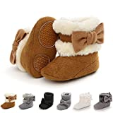 Baby Boy Girl Boots Newborn Shoes Winter Snow Bowknot Anti-Slip Soft Sole Warm Infant Toddler Prewalker Booties(B/Brown, 0-6 Months)