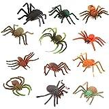 TOYANDONA Realistic Plastic Spider Toys 12pcs Creepy Halloween Prank Props Halloween Decoration Party Favors