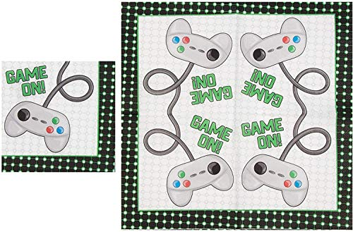 72 Piece Video Game Birthday Party Supplies - Serves 24 Game Theme for Gamer Night, Boys, Kids, Comes with Paper Plates, Napkins, Cups
