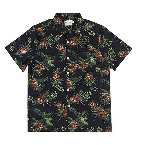 Camisa de Manga Corta para Hombre Camisa Informal de Playa de Ocio con Estampado de pia de Fondo Negro Europeo y Americano Salida de Manga Corta Hawaiana L