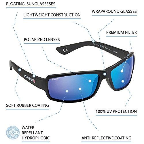 Cressi Ninja Floating Sonnenbrillen, Schwarz/Verspiegelt Linsen Blau, M - 2