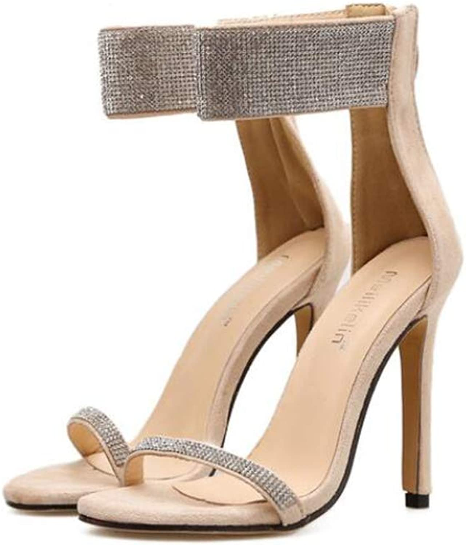 Summer European and American Rhinestone High Heels with Thin High Heel Sandals,Beige,38