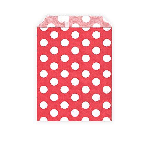 HouseholdBasics 50 Stück - Papierbeutel / Partytüten / Candy Bags - für Geschenke, Karten - Verschiedene Größen und Muster (13 x 18 cm, rot / weiß (gepunktet))
