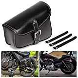 Motorcycle Tool Bag Saddlebags with PU Leather Metal Buckle Black Swing Arm Bag...