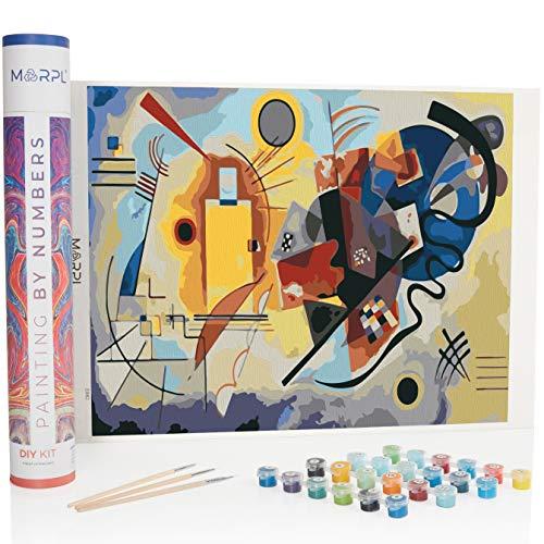 MARPL Pintura por números para adultos – Varios diseños – DIY Painting by Numbers con caja de regalo, lienzo, pinceles y pinturas acrílicas – sin marco (abstracto)