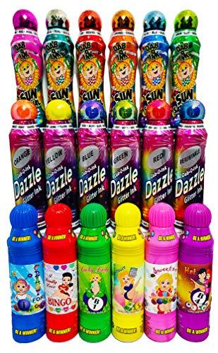 Dab-O-Ink 3 oz. 18 Pack Dazzle Glitter/Sunsational/Lucky Ladies Bingo Daubers Bulk Combo Gift Set!